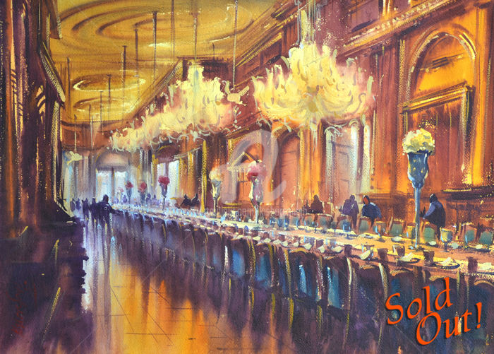 world-s-largest-dining-hall-falaknuma.jpg - Painting,  8.7x11.8 in, ©2016 by Kishore Singh -                                                                                                                                                          Architecture, kishore singh, world's largest dining hall falaknuma