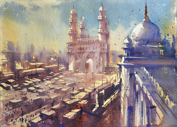 charminar-from-a-moody-perspective.jpg - Painting,  30x22 cm ©2016 by Kishore singh -                                                            Environmental Art, Paper, Architecture, kishoresingh hyderabat painting, charminar from a moody perspective, world best watercolor