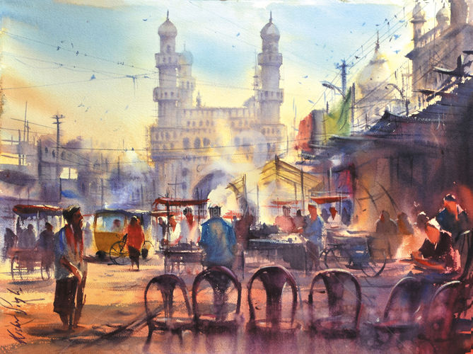 morning-at-a-roadside-tea-kiosk.jpg - Painting,  30x22 cm ©2016 by Kishore singh -                                                            Environmental Art, Paper, Asia, master of watercolor in indian artist, charminar, charminer painting, morning at a roadside tea kiosk