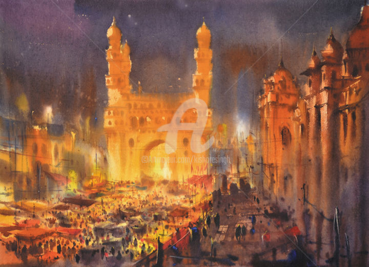 charminar-glows-id-tomorrow.jpg - ©  world best watercolor, ramzan, charminar, charminar night, kishore singh, charminar glows id tomorrow Online Artworks