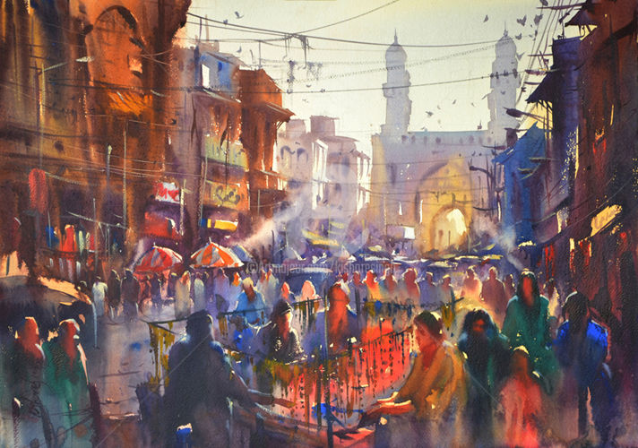 poetic-monument-and-packed-streets.jpg - Painting ©2016 by Kishore singh -                                                            Environmental Art, Paper, Architecture, Watercolor Painting Techniques, kishoresingh, Famous Watercolor Artists, top watercolor artists