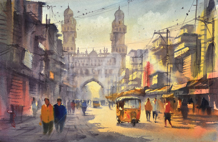 Charminar. - Painting ©2016 by Kishore singh -                                                            Environmental Art, Paper, Cities, list of famous watercolor artists, Contemporary Watercolor Artists, Indian Watercolor Paintings, Famous Watercolor Paintings Indian Watercolor Paintings, kishore singh charminar, charminar morning, hyderabad