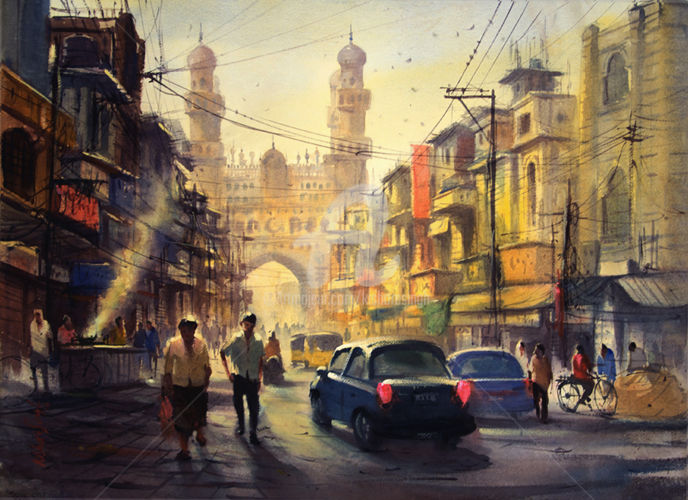 charminar-in-hyderabad11-kishore singh - Painting ©2016 by Kishore singh -                                                                        Environmental Art, Paper, Cities, Cityscape, kishore singh, master of watercolor, Charminar in Hyderabad, world best watercolor, top ten watercolor, great watercolor artist, hyderabad artist, indian artist