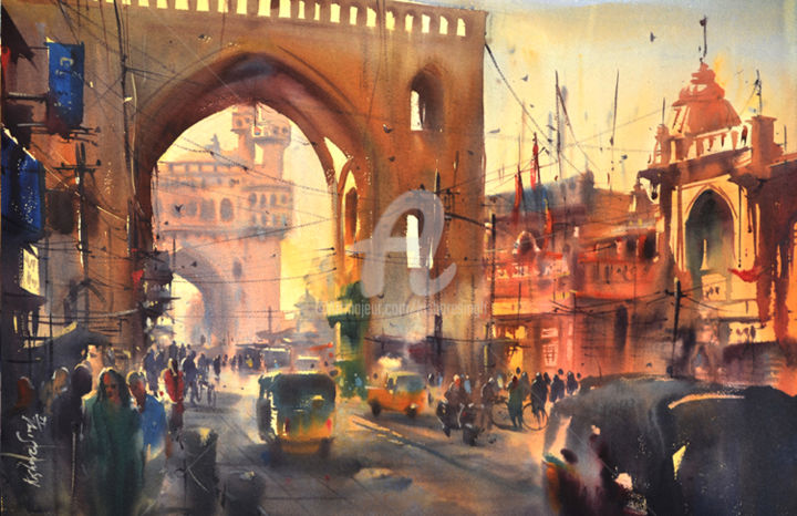 Hyderabad_city-gate-charminar01.jpg - Painting,  30x40 cm ©2017 by Kishore singh -                                            Paper, Cities, indian top artist...hyderabad City Gate Charminar01, world top watercolor artist., best watercolor painting, kishore singh artist