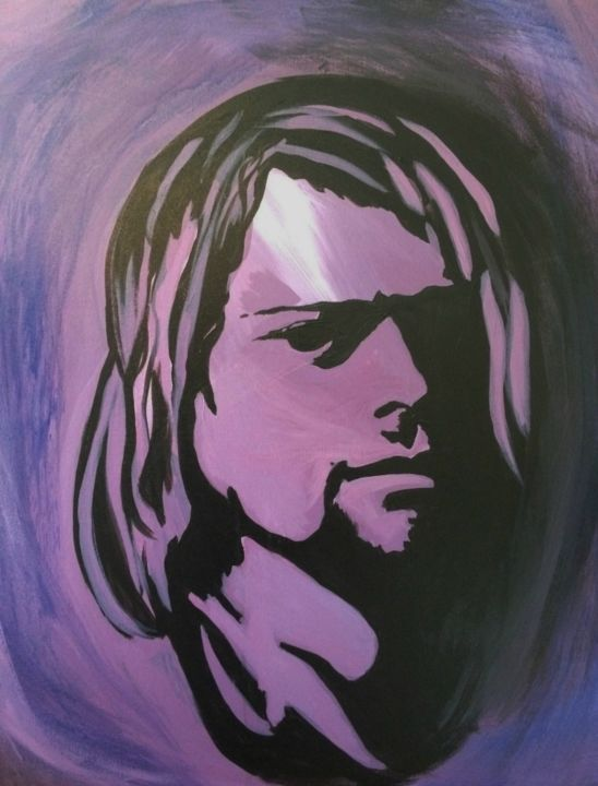 Kurt - Painting,  24x20x0.3 in, ©2018 by KJ -                                                                                                                                                                                                                          Abstract, abstract-570, Pop Culture / celebrity, Kurt Cobain
