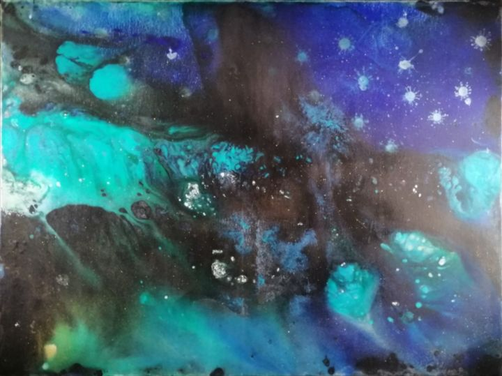 galaxy - Painting,  23.6x31.5x0.6 in, ©2019 by kalhan-inspiration -                                                                                                                                                                                                                                                                                                                                                                                                                                                                                                                                                                                                                                                                                                                                                                                                                                                                                                                                                                                                                                                                                                                                                                                                                                                                              Abstract, abstract-570, artwork_cat.Abstract Art, Aerial, Outer Space, Colors, Dark-Fantasy, art, abstrait, etoile, espace, artdeco, bleu, vert, noir, acrylique, toile, artiste, peinture, rêve, space, abstractart, outbreak, dark, deco, originalpainting, artcolor