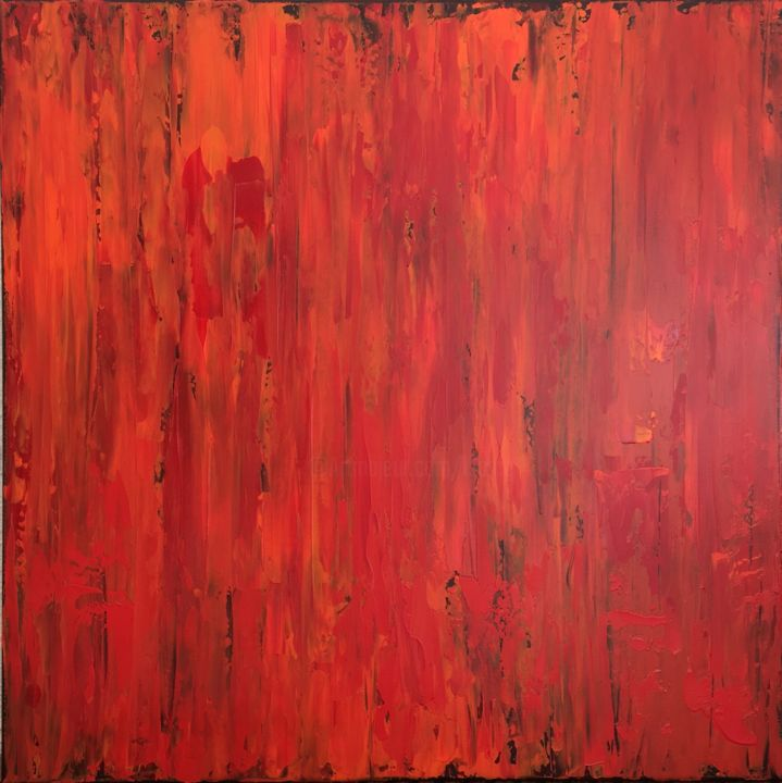Burning Desire #1924 Ready to hang-Free shipping - © 2019 fire, feelings, red orange, contrast, layers, flames, warm, motion, minimalism, klara g, wellness, red hot Online Artworks