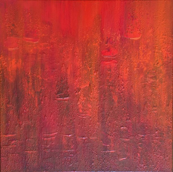 Internal Fire #1935 Ready to hang-Free shipping - © 2019 monochrome, minimalism, less is more, red orange gold, klara g, passion, fire, flames, texture, layers Online Artworks