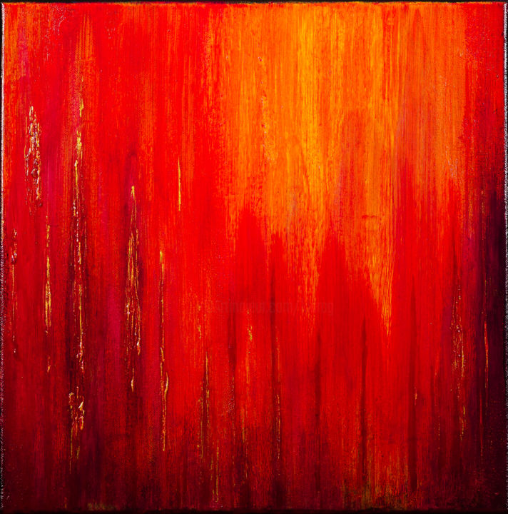 Feel the Heat #1938 Ready to hang-Free shipping - Painting,  15.8x15.8x0.8 in, ©2019 by Klara Gunnlaugsdottir -                                                                                                                                                                                                                                                                                                                                                                                                                                                                                                                                                                                          Abstract, abstract-570, Abstract Art, monochrome, minimalism, skandinavia, fire, flames, feelings, passion, klara g, gold metallic