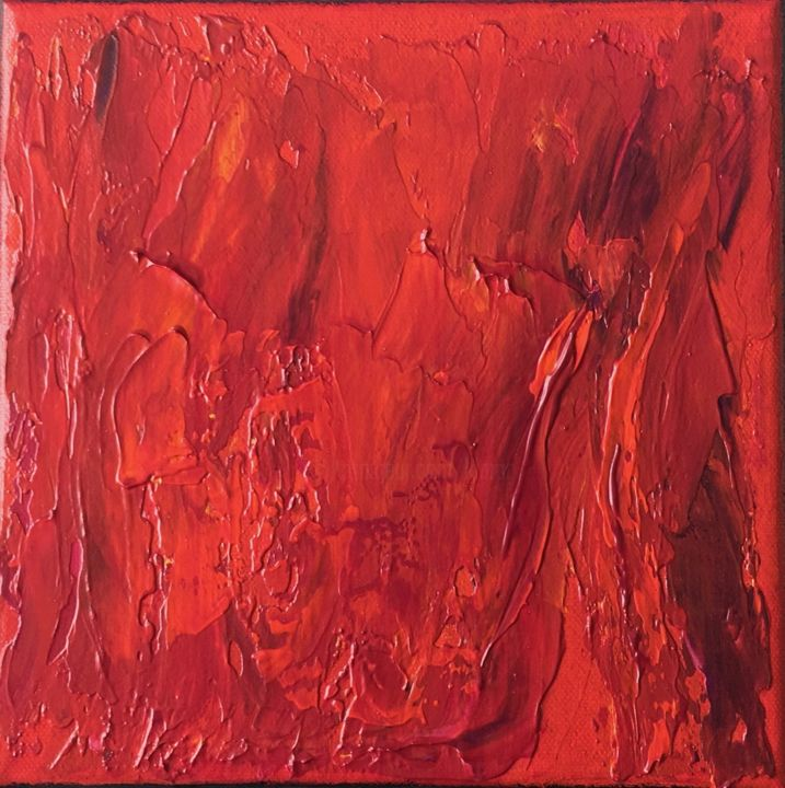 Simply Red #1940 Ready to hang - Free shipping - Painting,  7.9x7.9x0.8 in, ©2019 by Klara Gunnlaugsdottir -                                                                                                                                                                                                                                                                                                                                                                                                                                                                                                                                                                                                                                                                                                                              Abstract, abstract-570, Abstract Art, minimalism, monocrome, red orange, gift, vibrant, timeless, skandinavian, less is more, klara g, miniature, energy, #artistsupportpledge
