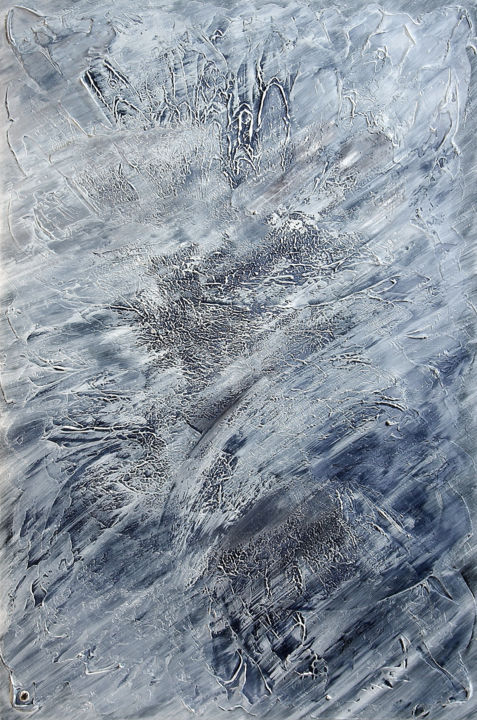 ICY #1324 - Painting,  47.2x31.5x0.8 in ©2019 by Klara Gunnlaugsdottir -                                            Abstract Art, Abstract Art, WATER, ICE, WIND, ENERGY, MOUVEMENT, ICELAND, NORDIC, ELEGANCE, GESTURAL