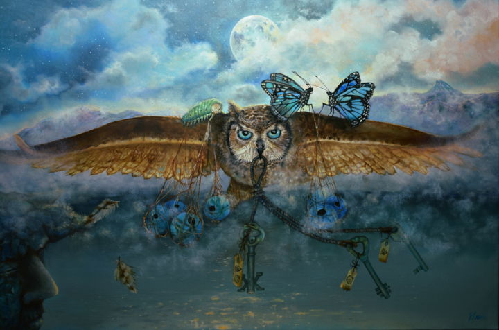 Travel keeper - Painting,  19.7x27.6x0.8 in, ©2019 by Klaudia Karasek -                                                                                                                                                                                                                                                                                                                                                                                                                                                      Surrealism, surrealism-627, Fantasy, owl, surrealism, moon, butterfly, keys, night