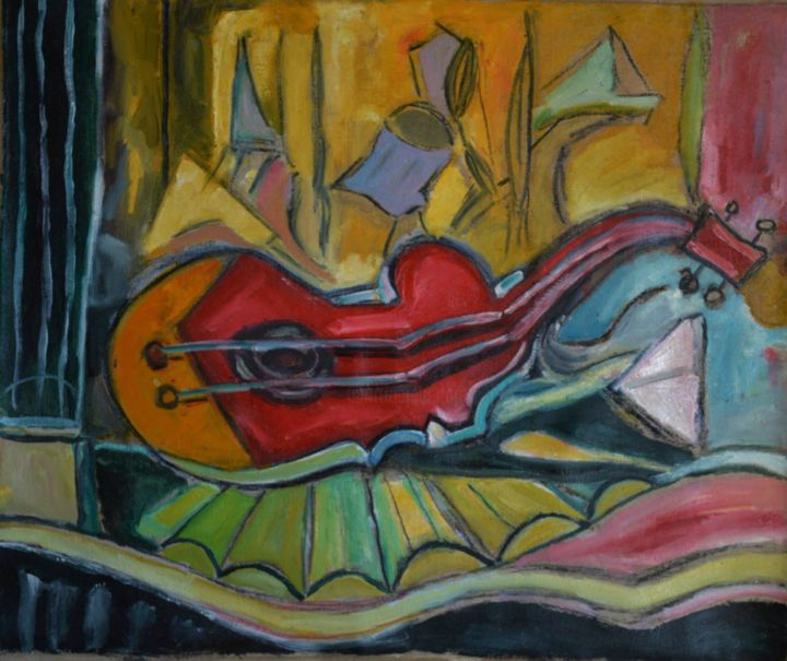 lonely guitar - Peinture,  24,4x29,5 in, ©2005 par Klim -                                                                                                                                                                                                                          Abstract, abstract-570, Art abstrait, cocor