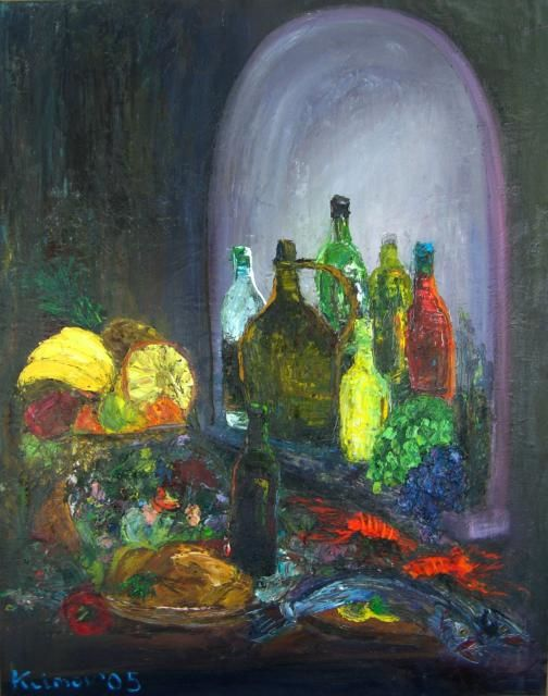still life - Painting,  120x150 cm ©2005 by Klimov -                        Abstract Expressionism