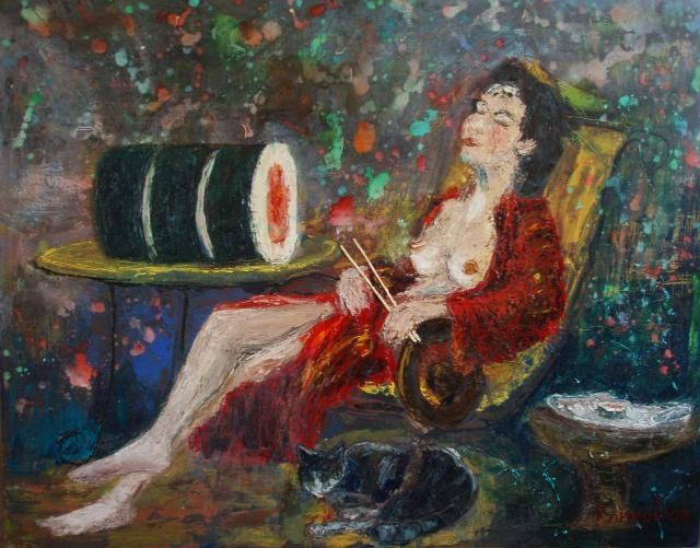 dreams of a big sushi - Painting,  120x150 cm ©2008 by Klimov -                        Nude