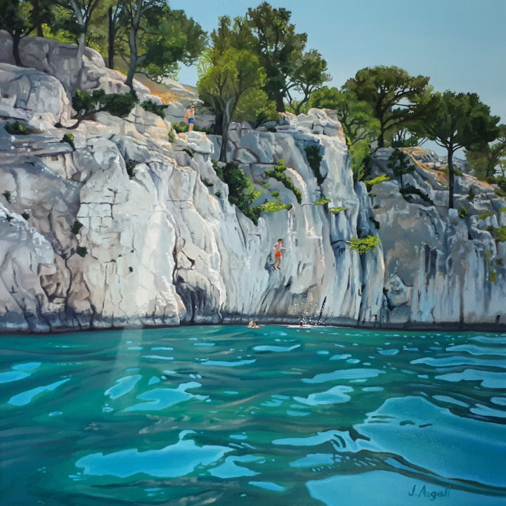 Saut à Port pins - Painting,  14.2x14.2x0.1 in, ©2018 by Julie Argall -                                                                                                                                                                                                                                                                                                                                                                                                                                                                                                                                                                                                                                                                                                                              Figurative, figurative-594, Water, Family, Light, Nature, Landscape, Provence, Cassis, Saut, Jump, Pins, Summer, Été, Baignade