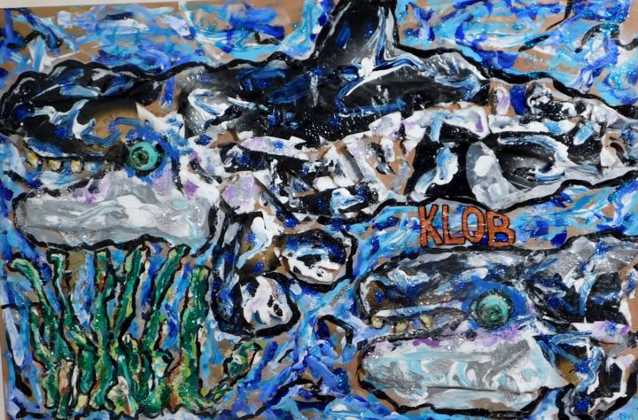 """Painting titled """"Orcas Swimming Into…"""" by Klob, Original Art, Acrylic"""