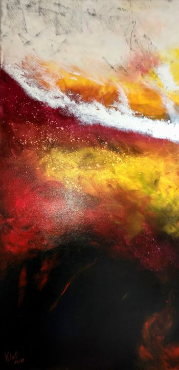 LE FEU COUVE - Painting,  47.2x23.6x0.8 in, ©2018 by pascale rey (KloO) -                                                                                                                                                                                                                                                                                                                                                                                                                                                                                                                                                                                          Abstract, abstract-570, Abstract Art, feu, flamme, magma, rouge, noir, volcan, kloo, artkloo, facebook
