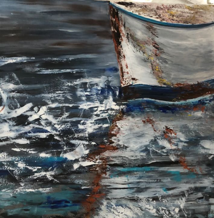 ETRAVE 2 - Painting,  23.6x23.6x1.6 in, ©2019 by Pascale Rey-Texier (KloO) -                                                                                                                                                                                                                                                                                                                                                                                                                                                      Abstract, abstract-570, Boat, Water, bateau, mer, eau, acrylique, artkloo