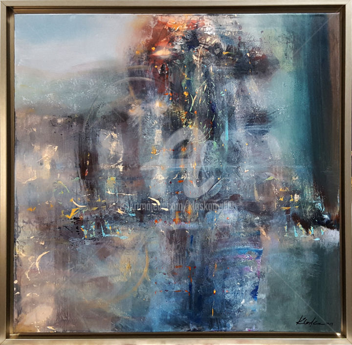 LARGE FRAMED DREAMSCAPE ONEIRIC PAINTING MELANCHOL - Painting,  86x86x3 cm ©2019 by Kloska Ovidiu -                                                                                                                                Abstract Art, Abstract Expressionism, Contemporary painting, Expressionism, Abstract Art, Aerial, Colors, Culture, Fantasy, ovidiu kloska, oneiric art, landscape, mindscape, light, summer, dream, fantasy, melancholia, nostalgia, diaphane, enigma, bizzare
