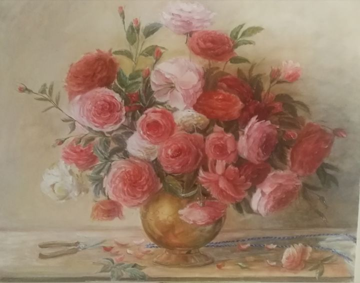 """Painting titled """"Roses with scissors…"""" by Christina Lao, Original Art, Oil"""