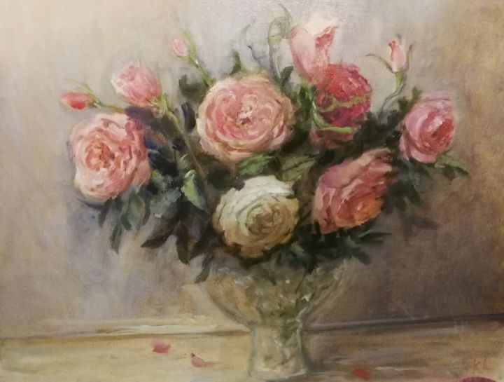 """Painting titled """"Autumn roses"""" by Christina Lao, Original Art, Oil"""