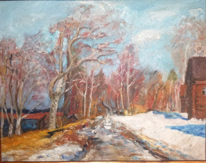"""Painting titled """"Winter day"""" by Christina Lao, Original Art, Oil"""