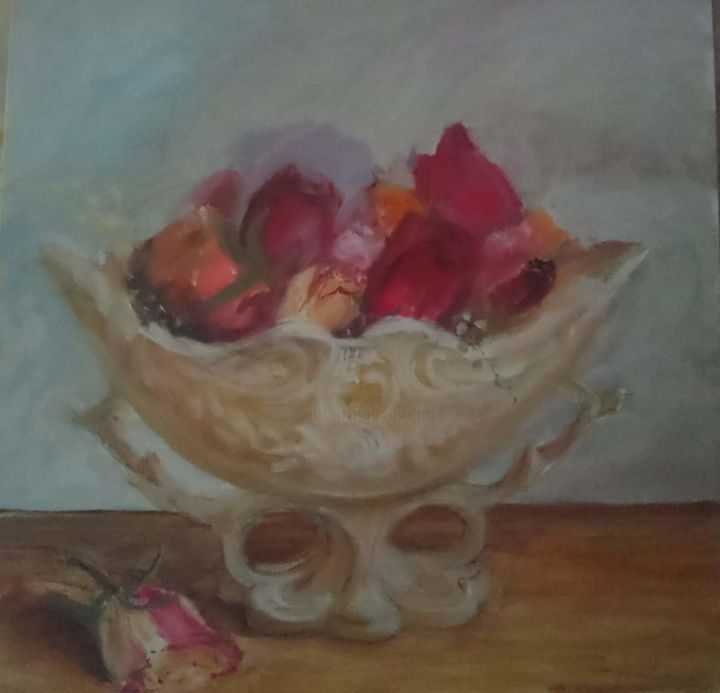 """Painting titled """"Cut roses"""" by Christina Lao, Original Art, Oil"""