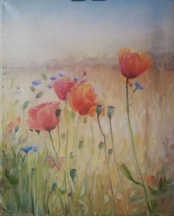 """Painting titled """"Poppies for Olga"""" by Christina Lao, Original Art, Oil"""