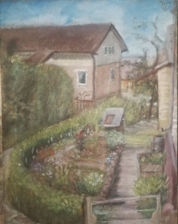 """Painting titled """"Garden view"""" by Christina Lao, Original Art, Oil"""