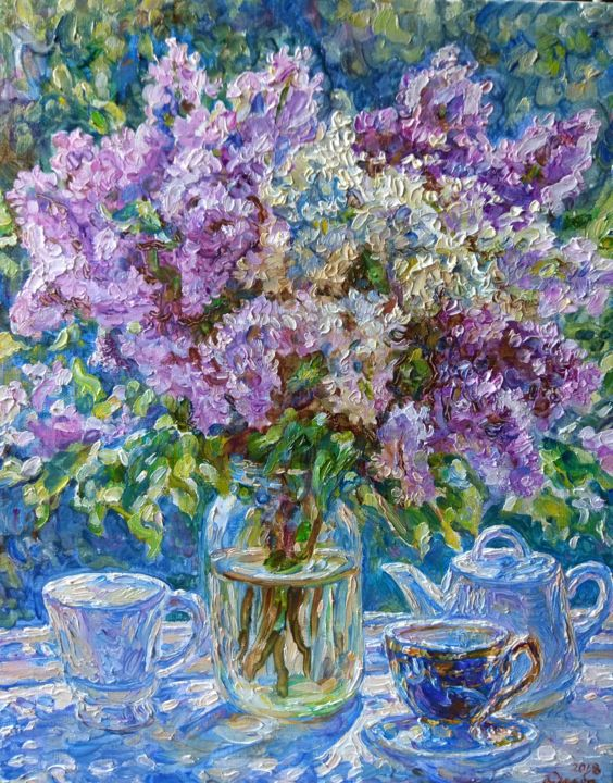 Tea with the aroma of lilac flowers - Peinture,  19,7x15,8x1,2 in, ©2018 par KlybArtGallery -                                                                                                                                                                                                                                                                                                                                                                                                                                                                                                  Impressionism, impressionism-603, Botanique, Saisons, Nature morte, La vie rurale, Fleur, fine art, painting, still life with flowers