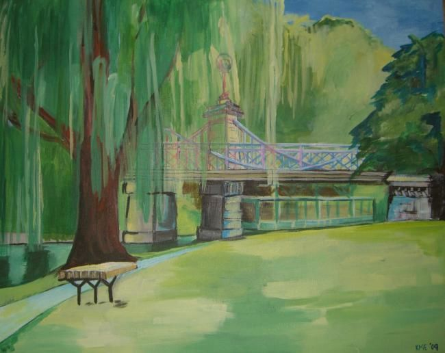 Boston Garden - Painting,  16x20 in ©2009 by Kristen Ettensohn -            Acrylic on Canvas