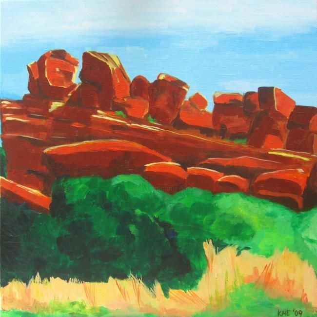 Red Rocks - Painting,  24x24 in ©2009 by Kristen Ettensohn -            Acrylic Painting