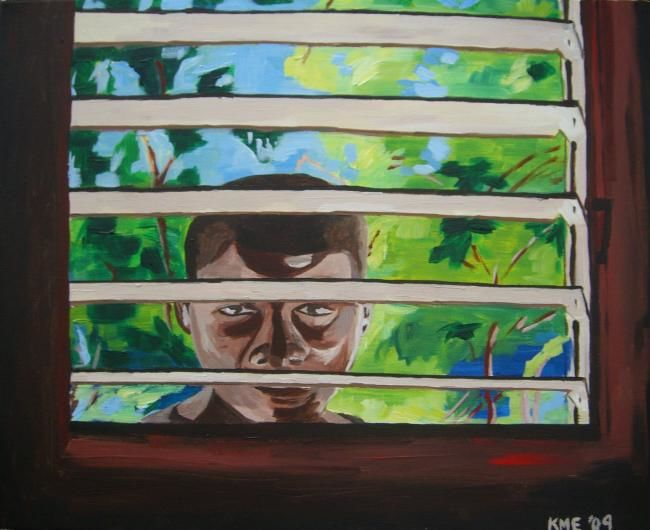Boy Peering Domincan Republic - Painting,  24x16 in ©2009 by Kristen Ettensohn -