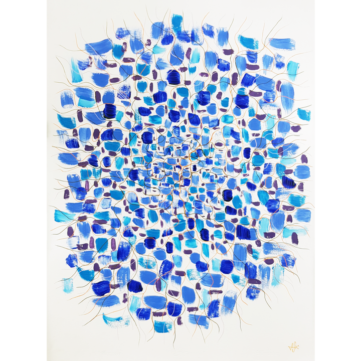 Abstract 1207 - depth - Painting,  76x56 cm ©2019 by Alexandra Knabengof -                                                                                            Abstract Art, Minimalism, Contemporary painting, Abstract Art, Animals, Flower, knabengof, abstract artist, flower, blue, lines