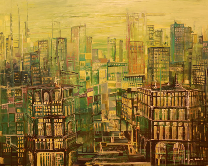 Green City - Painting,  80x100x2 cm ©2018 by Knkush Yesoyan -                                                            Abstract Art, Canvas, Cities, Green, Citiy