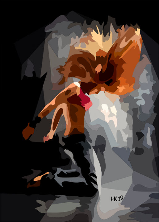 Bild 245 - Digital Arts,  120x80x2 cm ©2019 by Helmut Koehler-Huege -                                                                                Abstract Art, Performing Arts, Women, Culture, Body, Ballett, Tanz