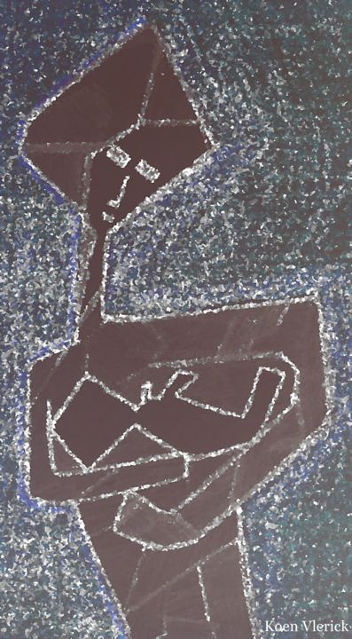 MOTHER AND CHILD - 7 - Painting,  40x20 cm ©2018 by Koen Vlerick -            MOTHER, AND, CHILD, 7