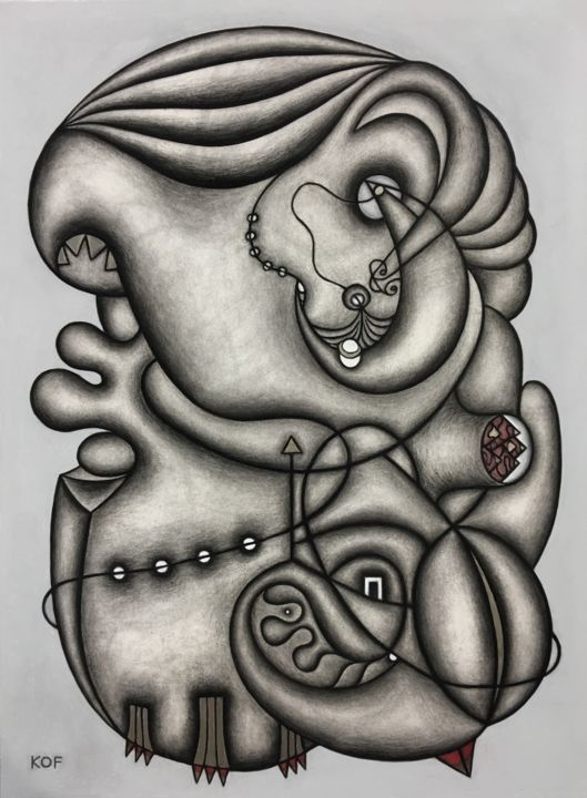 The Imposter's Smile (and her celestial navigation) - Drawing,  30x22x0.5 in, ©2019 by Kerry O. Furlani -                                                                                                                                                                                                                                                                                                                                                                                                                                                                                                  Abstract, abstract-570, Abstract Art, Women, women, universe, abstract, figurative, pastel, black and white