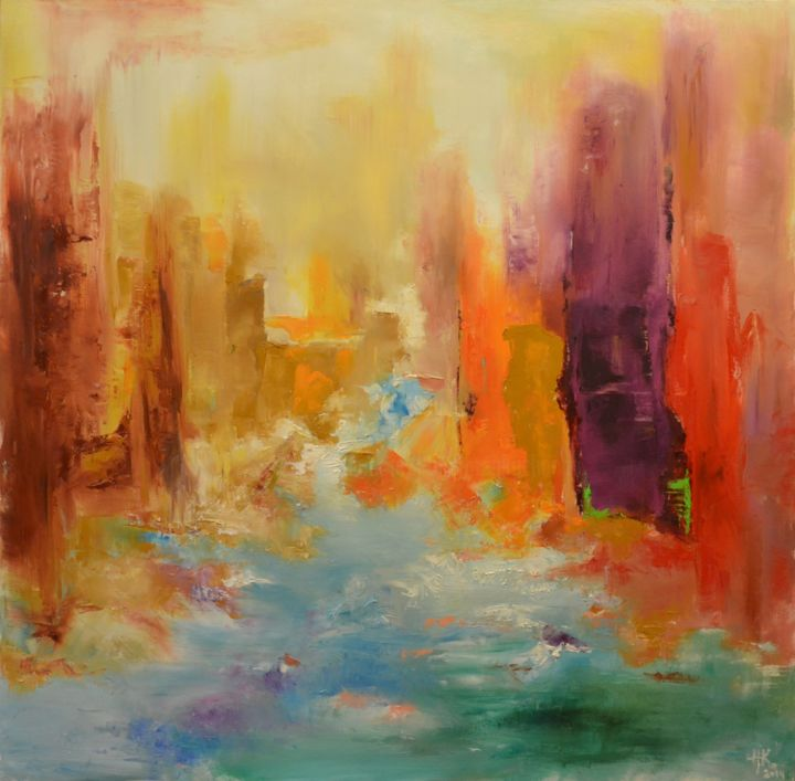 Midday. Italy - Painting,  47.2x47.2x0.8 in, ©2014 by Zhanna Kondratenko -                                                                                                                                                                                                                                                                                                                                                                                                                                                                                                                                                                                                                                                                                                                                                                                                                                                                                                                                                                                                      Abstract, abstract-570, Abstract Art, Architecture, Cities, Cityscape, Colors, italy, abstract, city, cityscape, water, houses, soft, day, midday, sun, pasteltones, mood, emotion, expression