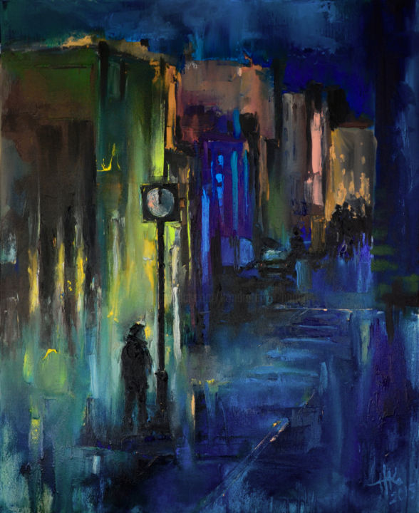 Meet me at midnight - Peinture,  80x65x2 cm ©2015 par Zhanna Kondratenko -                                                                                                                                                                                                                                                Art abstrait, Expressionnisme abstrait, Art conceptuel, Peinture contemporaine, Expressionnisme, Toile, Art abstrait, Architecture, Villes, Paysage urbain, Couleurs, Paysage, Amour / Romance, Hommes, Personnes, Lieux, Temps, Voyage, city, cityscape, night, dark, night city, date, man, awaiting, clock, street, figures, lights, mood, expressionism, contemporary, abstract
