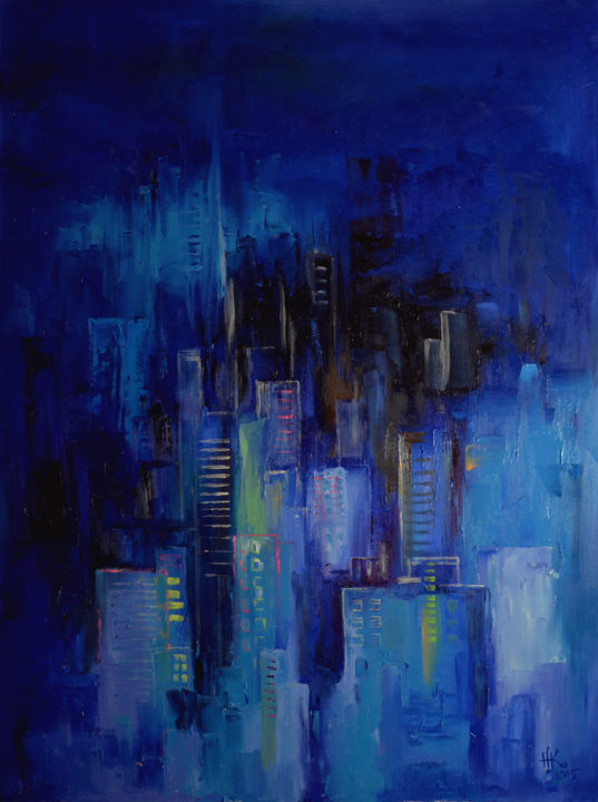 Night city (painting is glowing in the dark) (Zhanna ...