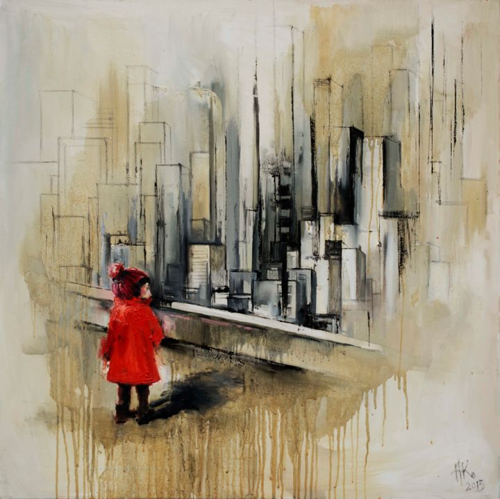 Collect this art! Red coat (2015) Painting (80x80x2 cm) 91583be6c71