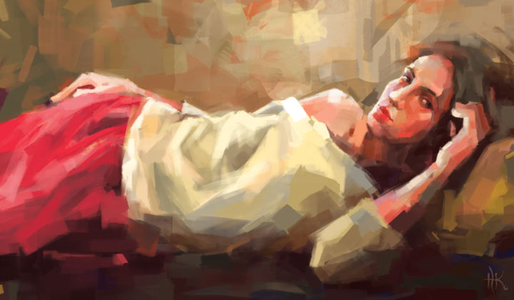 Catherine - Digital Arts,  70x120x2 cm ©2019 by Zhanna Kondratenko -                                                                                                                                Abstract Expressionism, Conceptual Art, Contemporary painting, Expressionism, Body, Colors, People, Portraits, Women, woman, lying model, girl, portrait, portraiture, figurative, figure, contemporary, work of art, digital painting, expression, emotional, expressionism, hands, body, gaze