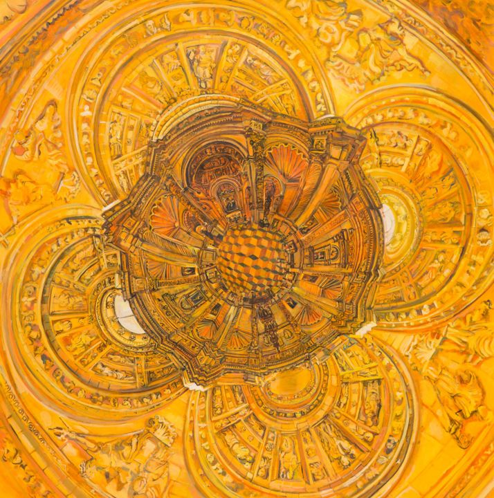 orange-flower - Painting,  145.5x144 cm ©2015 by chin kong yee -                                                            Contemporary painting, Paper, Spirituality, flower, the flower of life, chin kong yee
