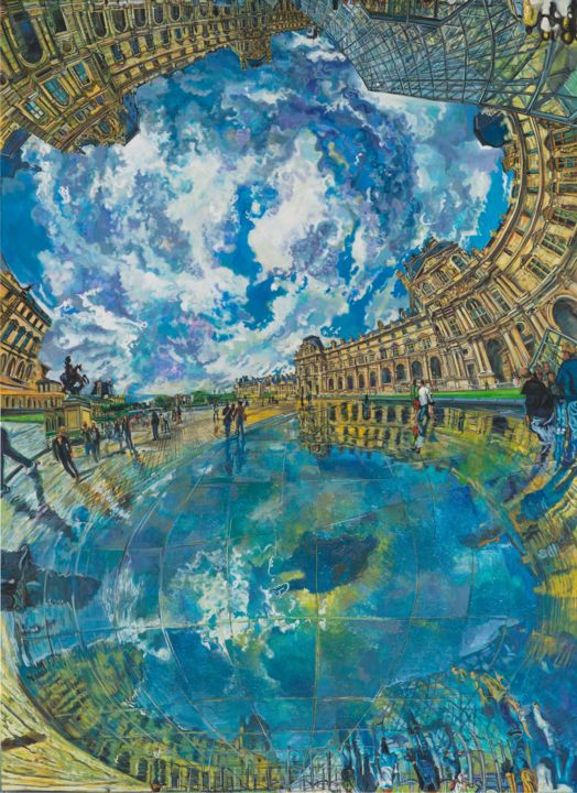 themirrolworlda1.jpg - Painting,  260x190x6 cm ©2014 by chin kong yee -                                                                                                Contemporary painting, Canvas, Architecture, Cities, Cityscape, Travel, mirror, paris, Louvre Museum