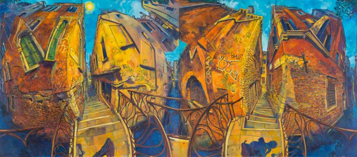 dancingwithshodows1.jpg - Painting,  170x380x5 cm ©2018 by chin kong yee -                                                Cityscape, Travel, World Culture