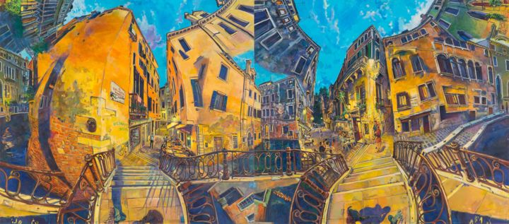 dancingwithshodows2.jpg - Painting,  170x380x5 cm ©2018 by chin kong yee -                                                                            Contemporary painting, Cityscape, Places, Time, World Culture