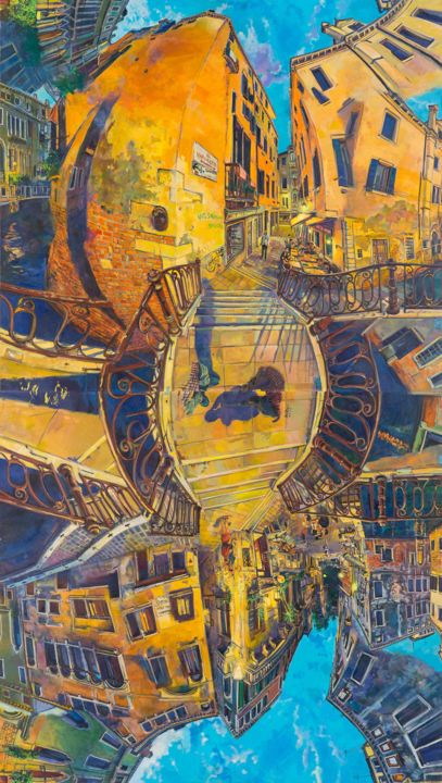dancingwithshodows2d.jpg - Painting,  380x170x5 cm ©2018 by chin kong yee -                                        Contemporary painting, Cityscape