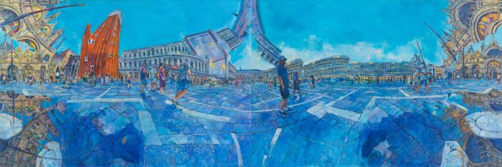 piazzasanmarco4.jpg - Painting,  51.2x149.6x2 in, ©2018 by Chin Kong Yee -